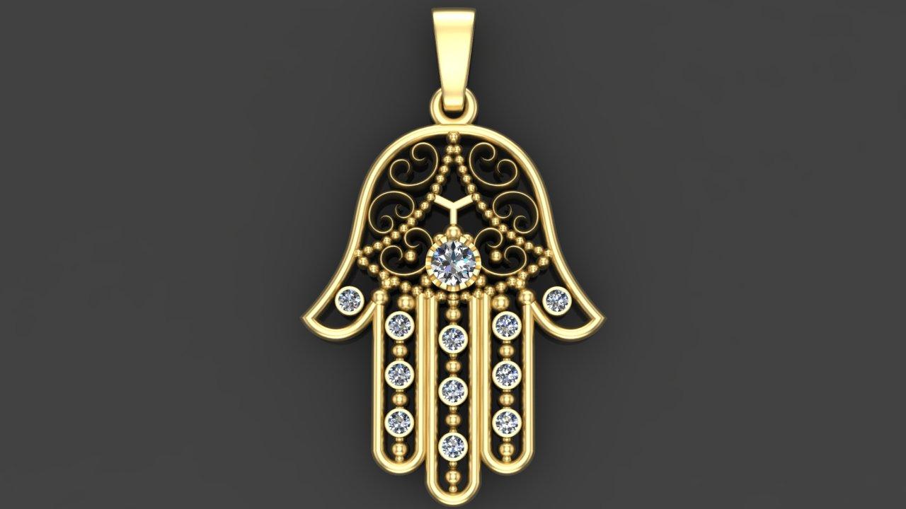 Амулет рука Фатимы из золота.
